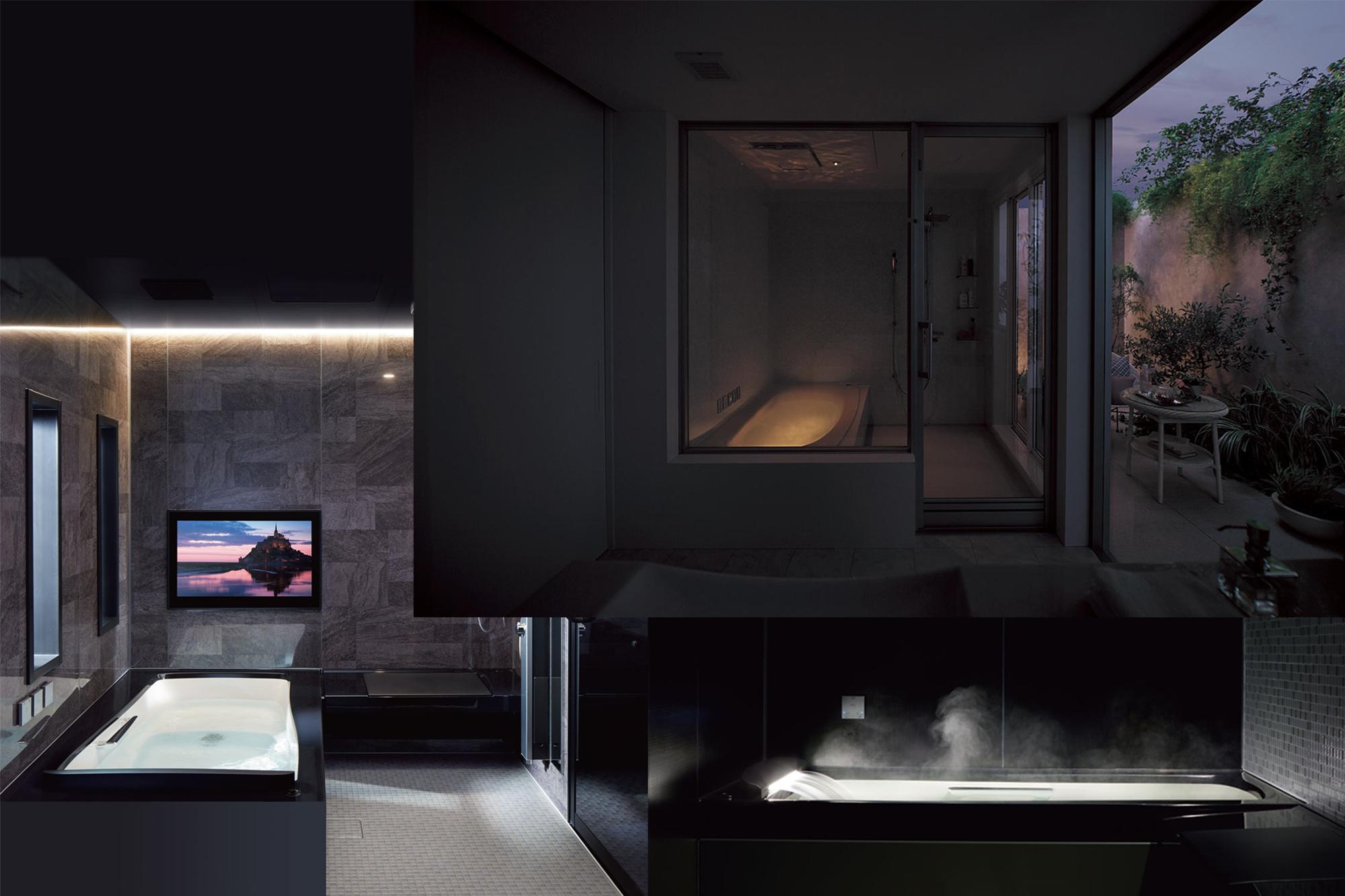 演出照明や打たせ湯機能、大型モニターでシアタータイムも。